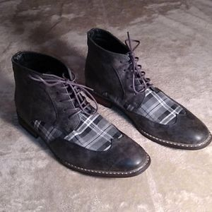 Enzo Romeo chukka grey plaid ankle boots